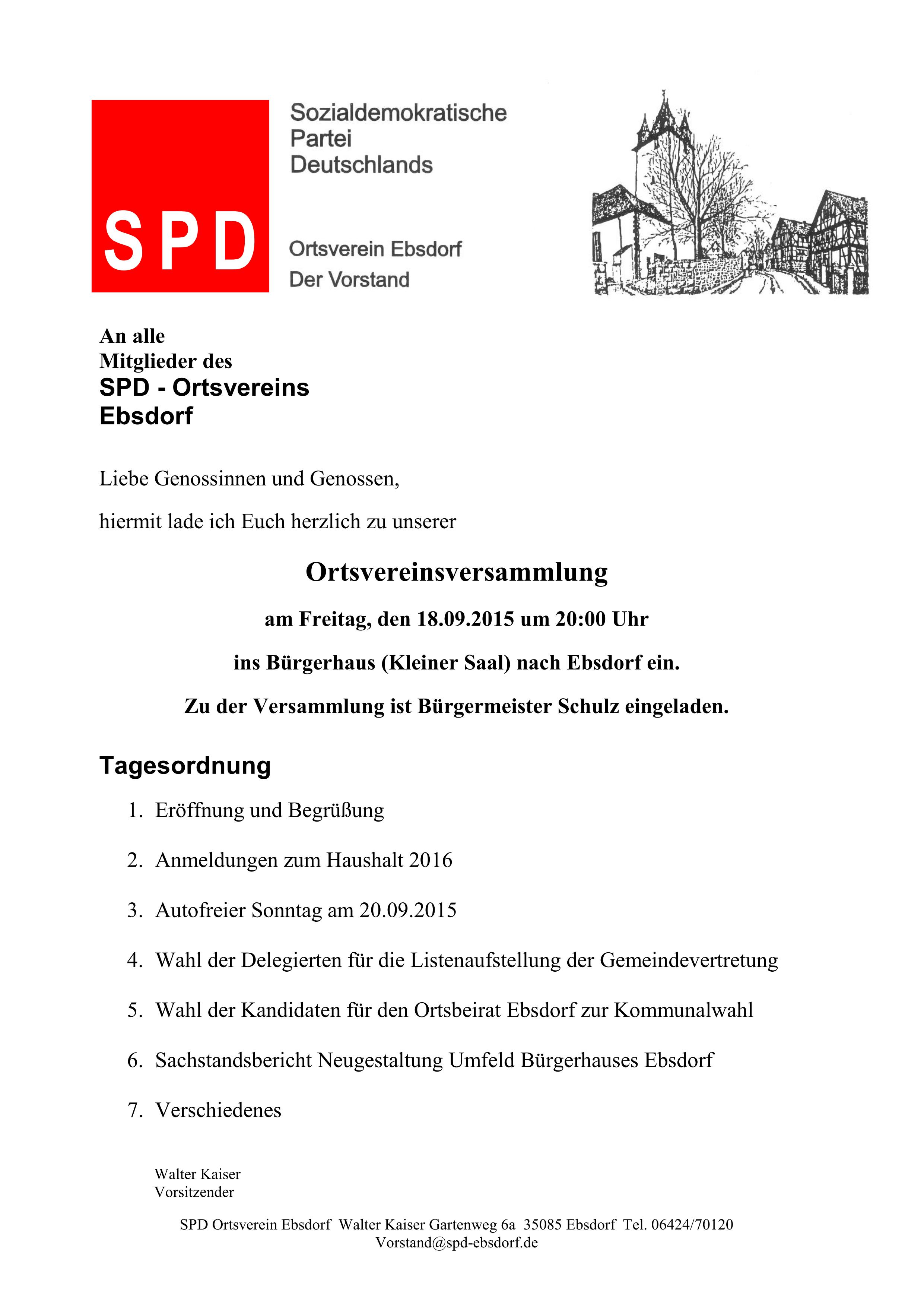 einladung zur mitgliederversammlung am 18.09.2015 | spd ortsverein, Einladung
