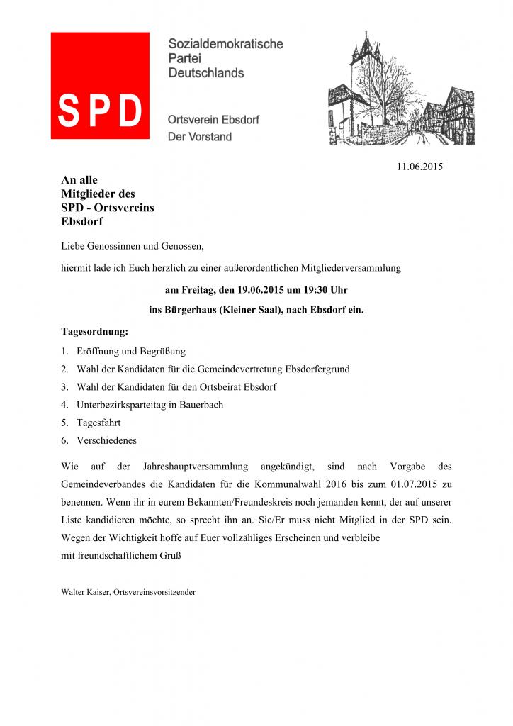 Einladung Mitgliederversammlung