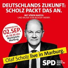 Olaf Scholz - Kundgebung auf dem Marktplatz in Marburg am 02. September